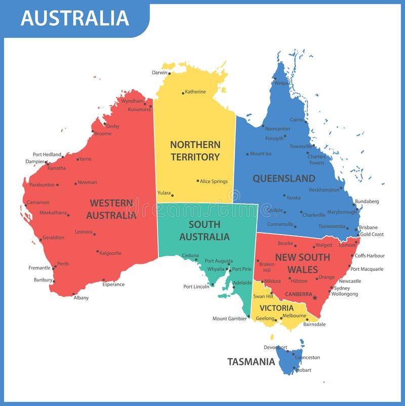 De gedetailleerde kaart van Australië met gebieden of staten en steden, kapitalen royalty-vrije illustratie