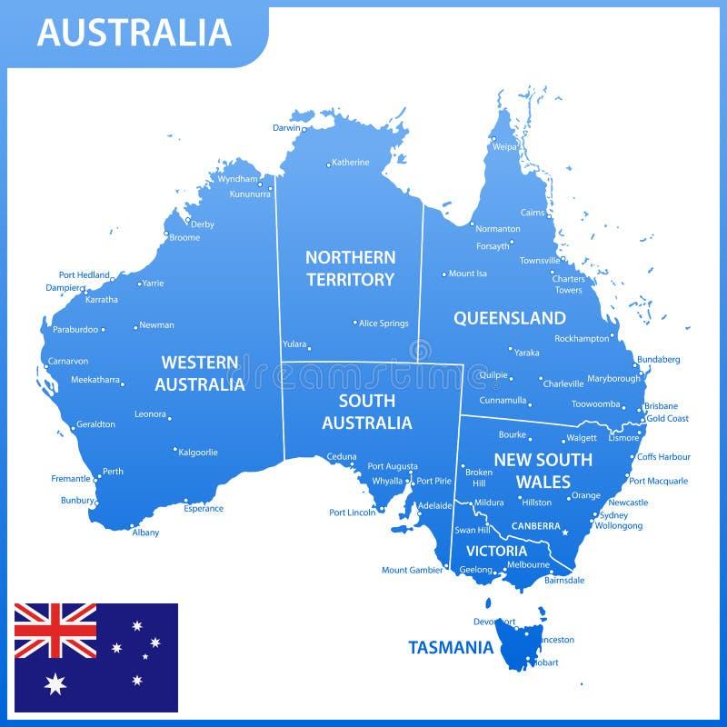 De gedetailleerde kaart van Australië met gebieden of staten en steden, kapitalen, nationale vlag vector illustratie