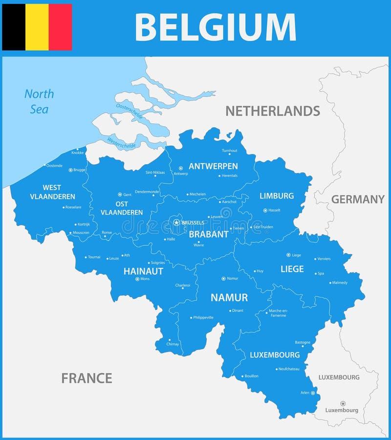 De gedetailleerde kaart van België met gebieden of staten en steden, kapitalen royalty-vrije illustratie