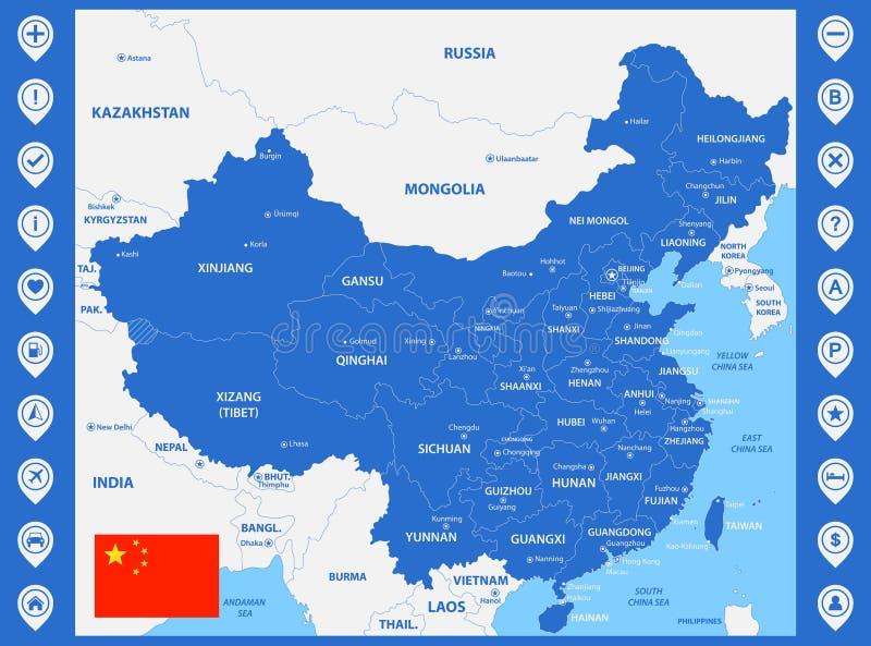 De gedetailleerde kaart van China met gebieden of staten en steden, kapitalen Met kaartspelden of wijzers De tellers of de tekens vector illustratie