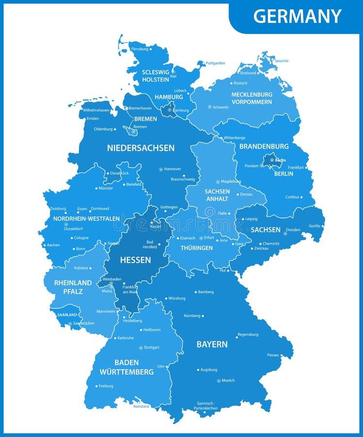 De gedetailleerde kaart van Duitsland met gebieden of staten en steden, kapitalen royalty-vrije illustratie