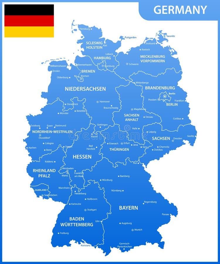 De gedetailleerde kaart van Duitsland met gebieden of staten en steden, kapitalen, nationale vlag vector illustratie