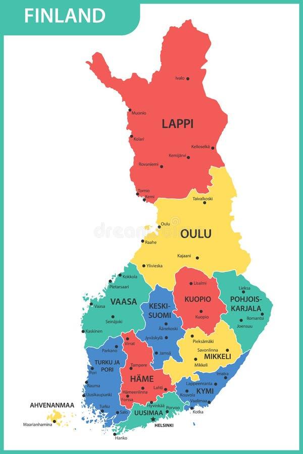 De gedetailleerde kaart van Finland met gebieden of staten en steden, kapitalen stock illustratie