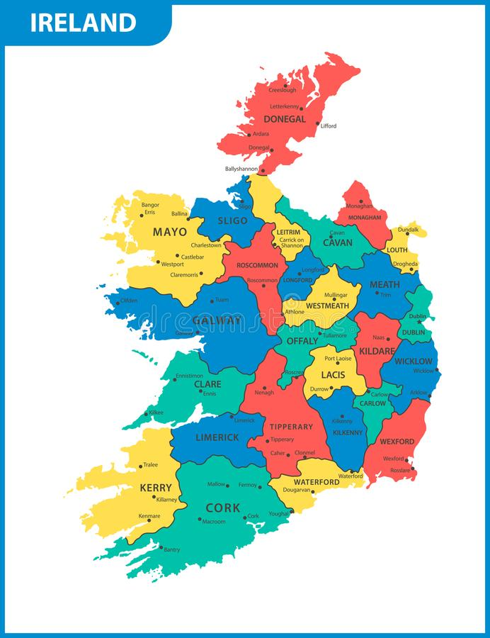 De gedetailleerde kaart van Ierland met gebieden of staten en steden, kapitalen vector illustratie