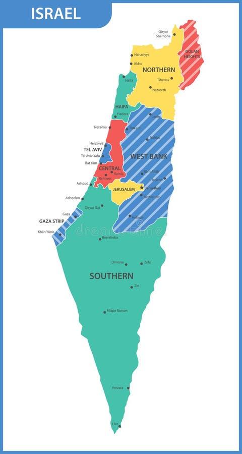 De gedetailleerde kaart van Israël met gebieden of staten en steden, kapitalen stock illustratie