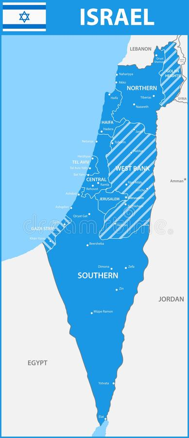 De gedetailleerde kaart van Israël met gebieden of staten en steden, kapitalen royalty-vrije illustratie