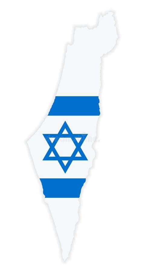 De gedetailleerde kaart van Israël met Nationale Vlag stock illustratie