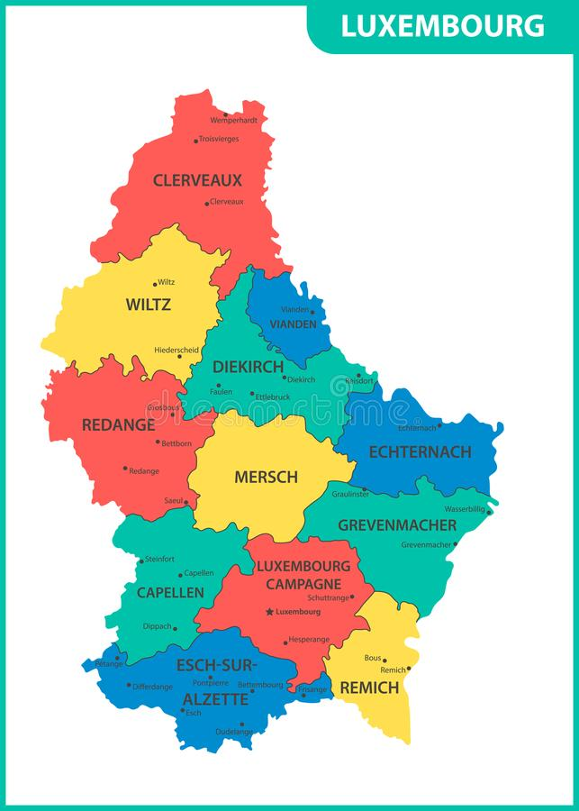 De gedetailleerde kaart van Luxemburg met gebieden of staten en steden, kapitalen Administratieve afdeling vector illustratie