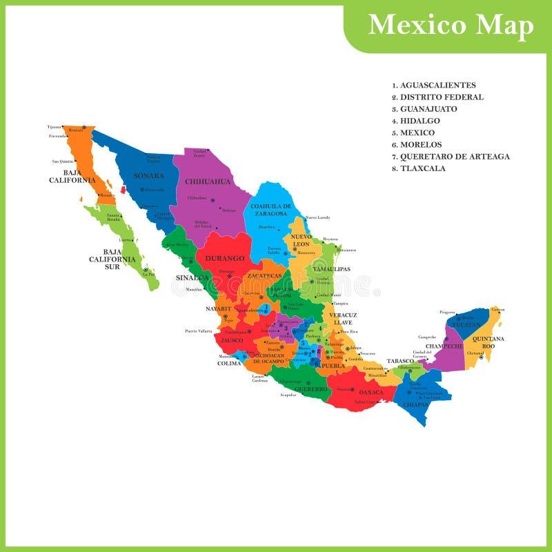 De gedetailleerde kaart van Mexico met gebieden of staten en steden royalty-vrije illustratie