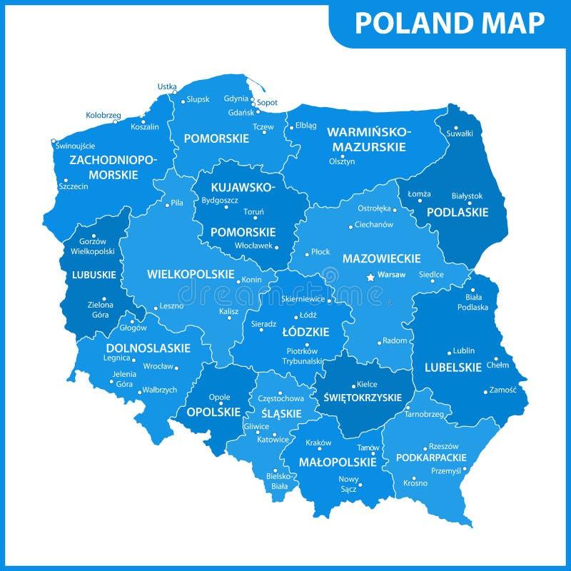 De gedetailleerde kaart van Polen met gebieden of staten en steden, kapitalen Administratieve afdeling stock illustratie