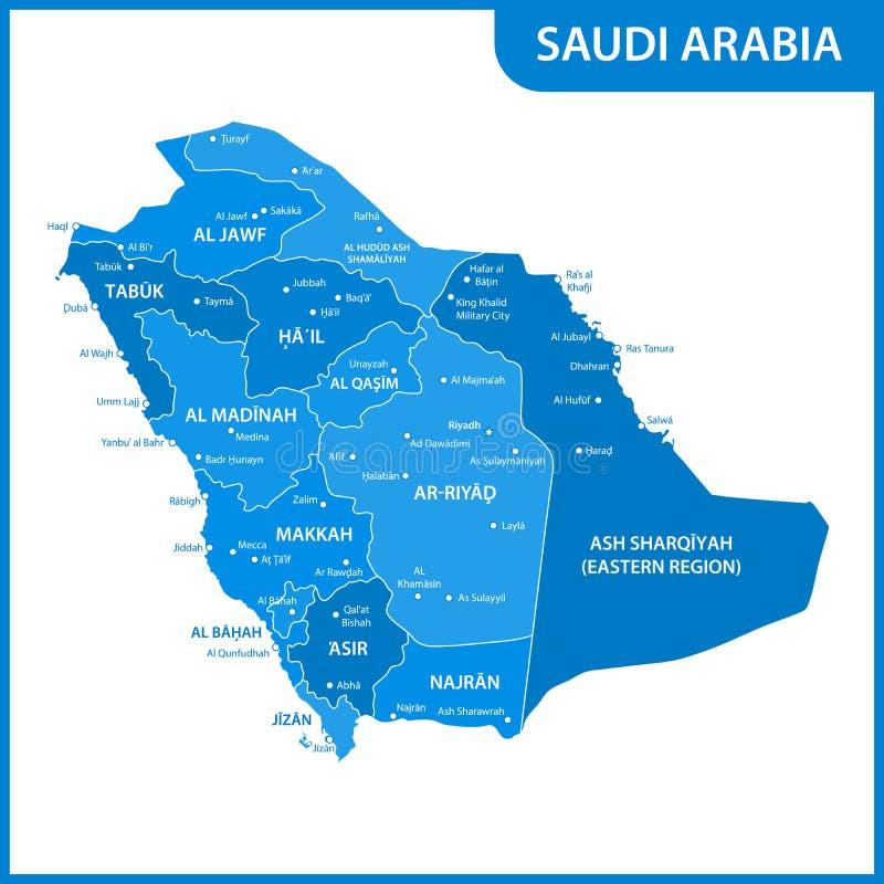 De gedetailleerde kaart van Saudi-Arabië met gebieden of staten en steden, kapitalen royalty-vrije illustratie