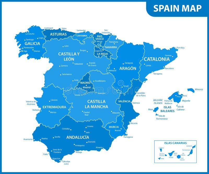 De gedetailleerde kaart van Spanje met gebieden of staten en steden, kapitalen stock illustratie