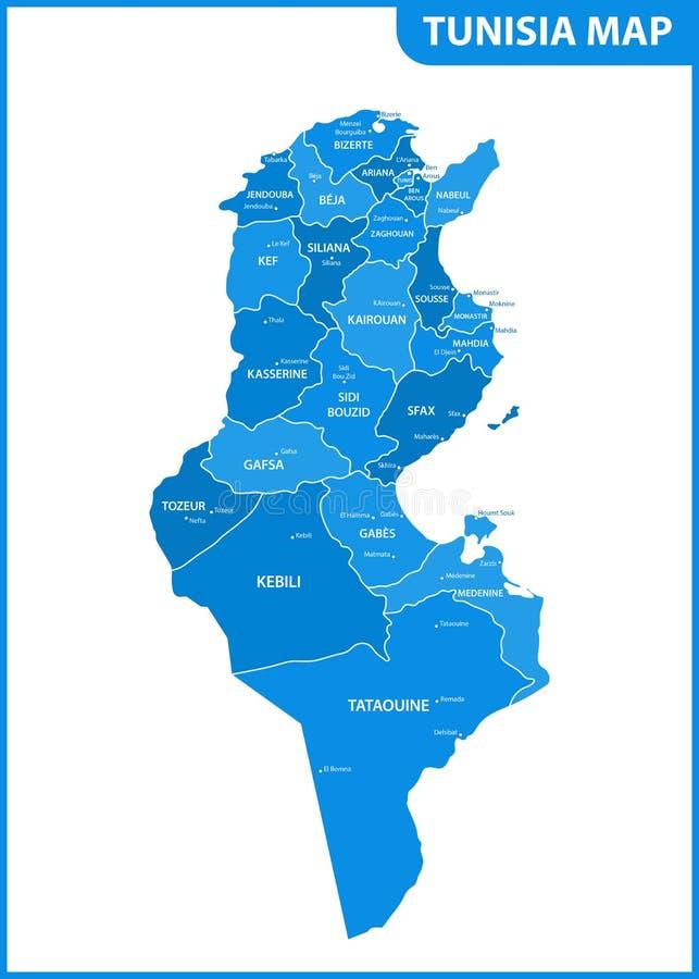 De gedetailleerde kaart van Tunesië met gebieden of staten en steden, kapitalen Administratieve afdeling stock illustratie
