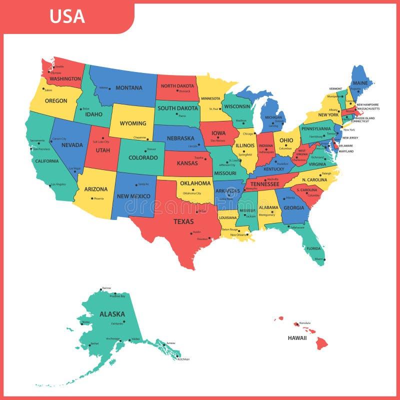 De gedetailleerde kaart van de V.S. met gebieden of staten en steden, kapitaal De Verenigde Staten van Amerika royalty-vrije illustratie