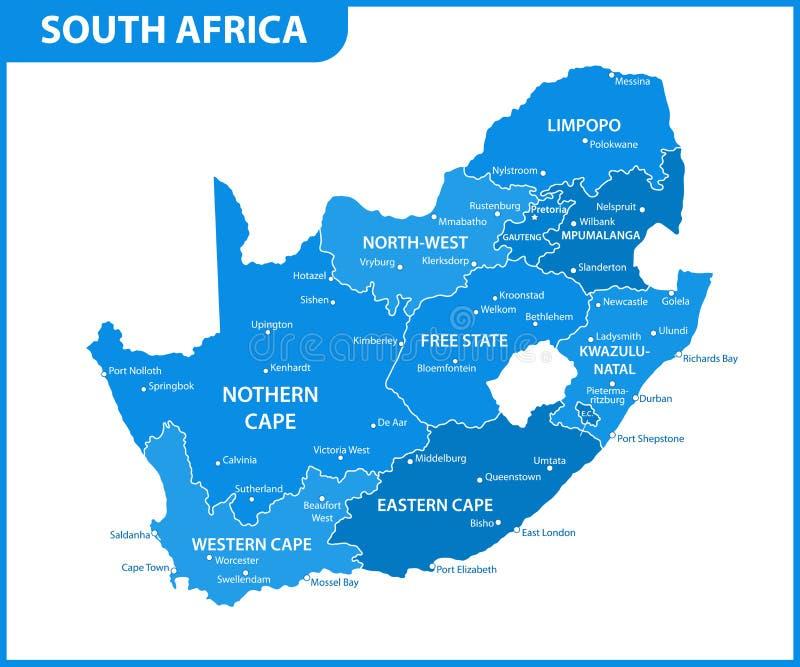 De gedetailleerde kaart van Zuid-Afrika met gebieden of staten en steden, kapitaal Administratieve afdeling vector illustratie