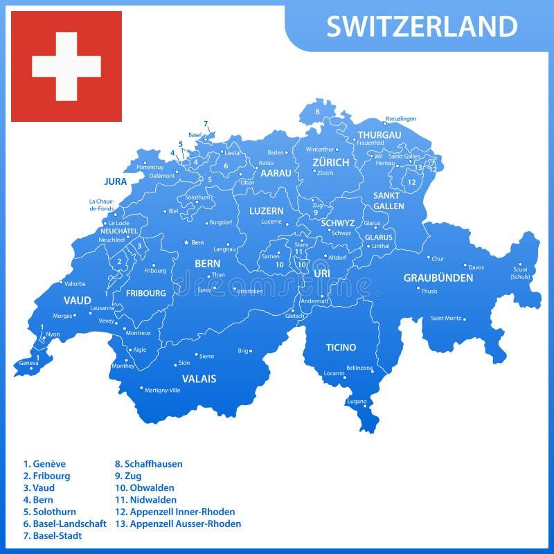 De gedetailleerde kaart van Zwitserland met gebieden of staten en steden, kapitalen, nationale vlag royalty-vrije illustratie