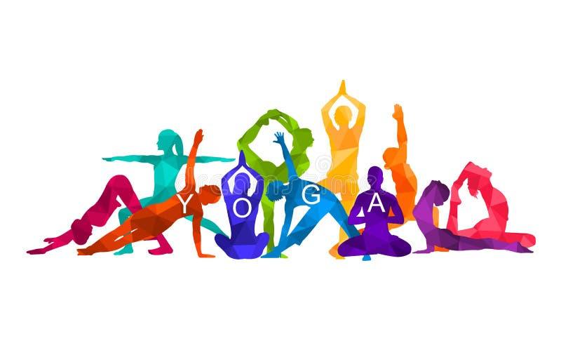 De gedetailleerde kleurrijke illustratie van de silhouetyoga Het concept van de geschiktheid gymnastiek vector illustratie