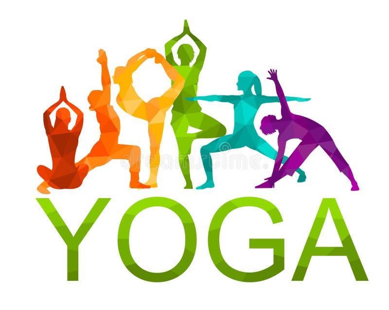 De gedetailleerde kleurrijke illustratie van de silhouetyoga Het concept van de geschiktheid gymnastiek aerobics royalty-vrije illustratie