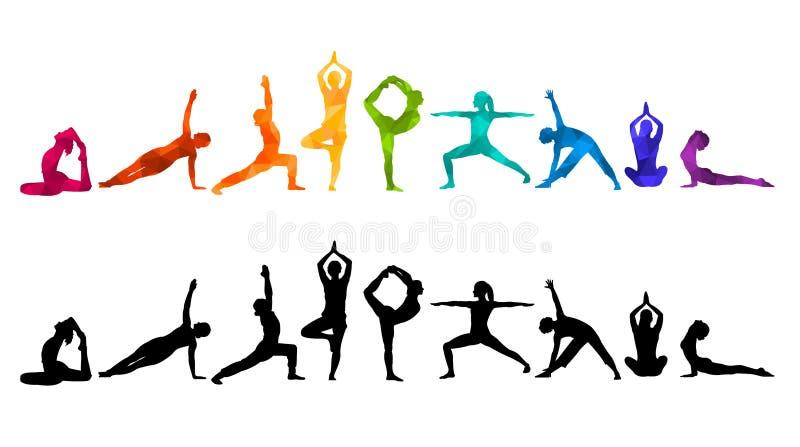 De gedetailleerde kleurrijke illustratie van de silhouetyoga Het concept van de geschiktheid gymnastiek AerobicsSport vector illustratie