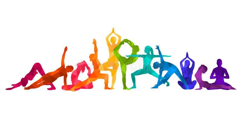 De gedetailleerde kleurrijke illustratie van de silhouetyoga Het concept van de geschiktheid gymnastiek AerobicsSport stock illustratie