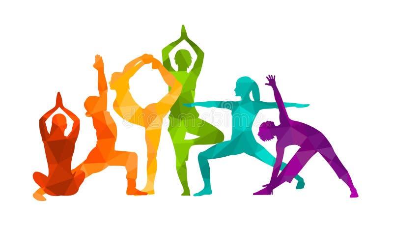 De gedetailleerde kleurrijke vectorillustratie van de silhouetyoga Het concept van de geschiktheid gymnastiek AerobicsSport stock illustratie