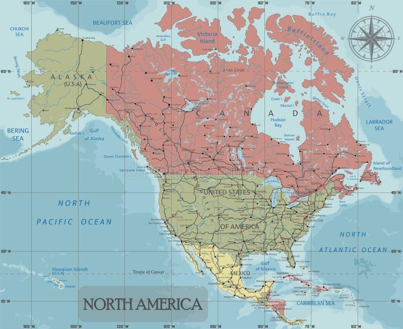De gedetailleerde Politieke kaart van Noord-Amerika in Mercator-projectie Duidelijk geëtiketteerd stock illustratie