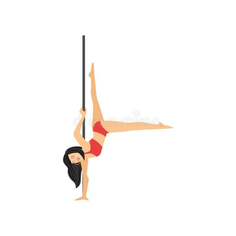 De gedetailleerde van de de pooldanser van de karaktervrouw hangende bovenkant - neer vector illustratie