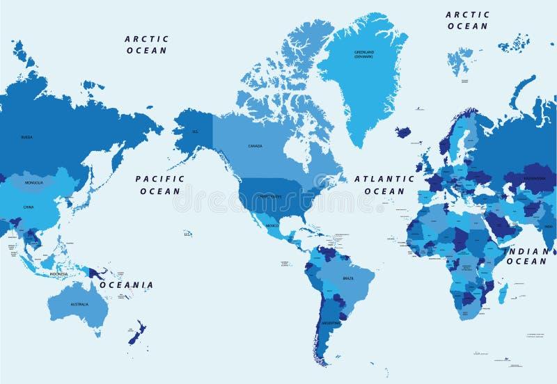 De gedetailleerde vector politieke kaart van de illustratiewereld die door Amerika wordt gecentreerd royalty-vrije illustratie