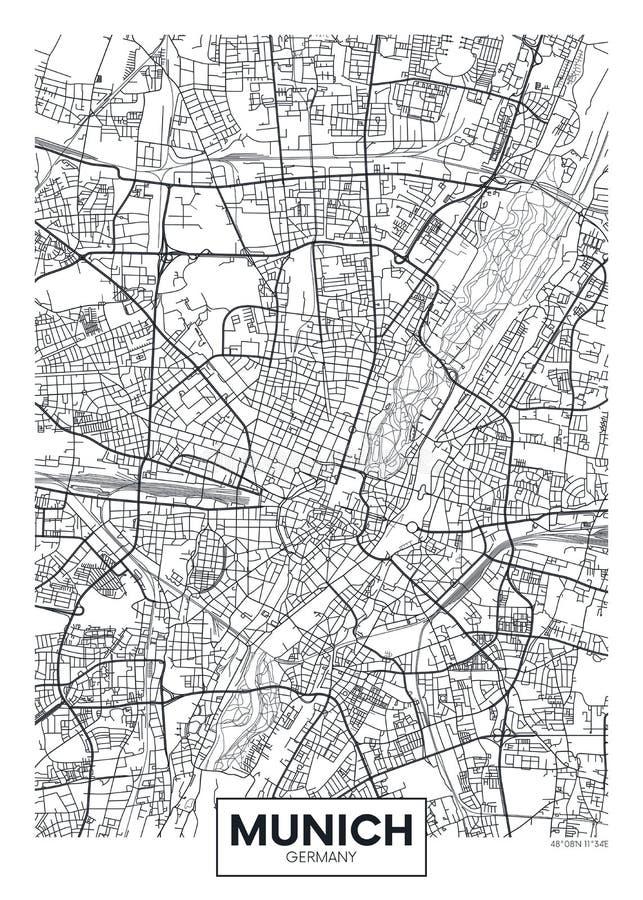 De gedetailleerde vectorkaart München van de affichestad vector illustratie