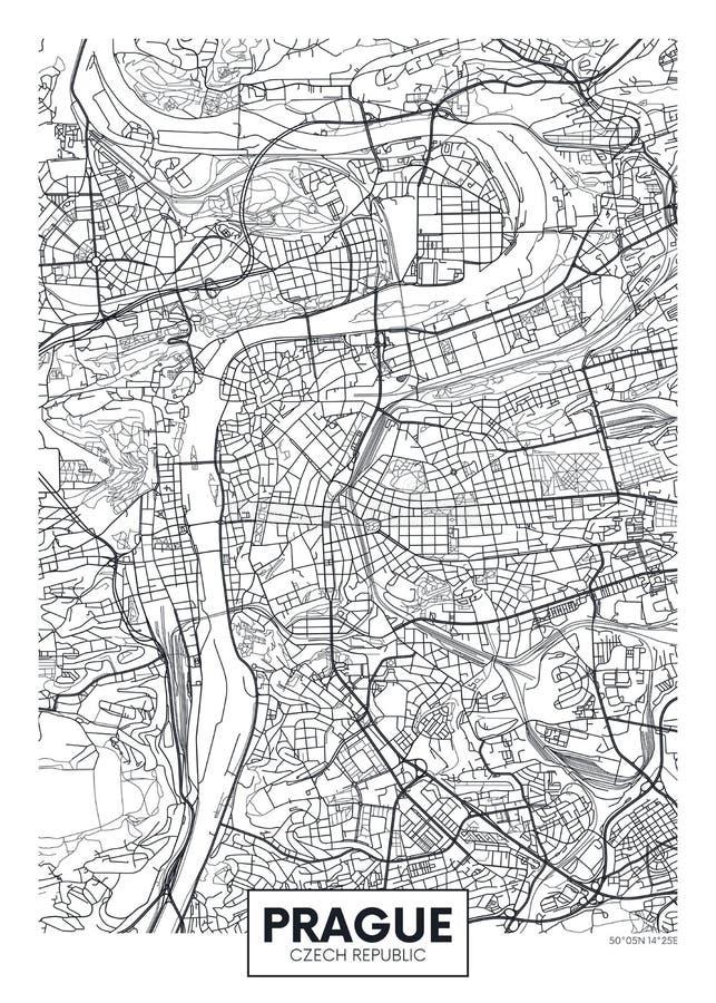 De gedetailleerde vectorkaart Praag van de affichestad royalty-vrije illustratie