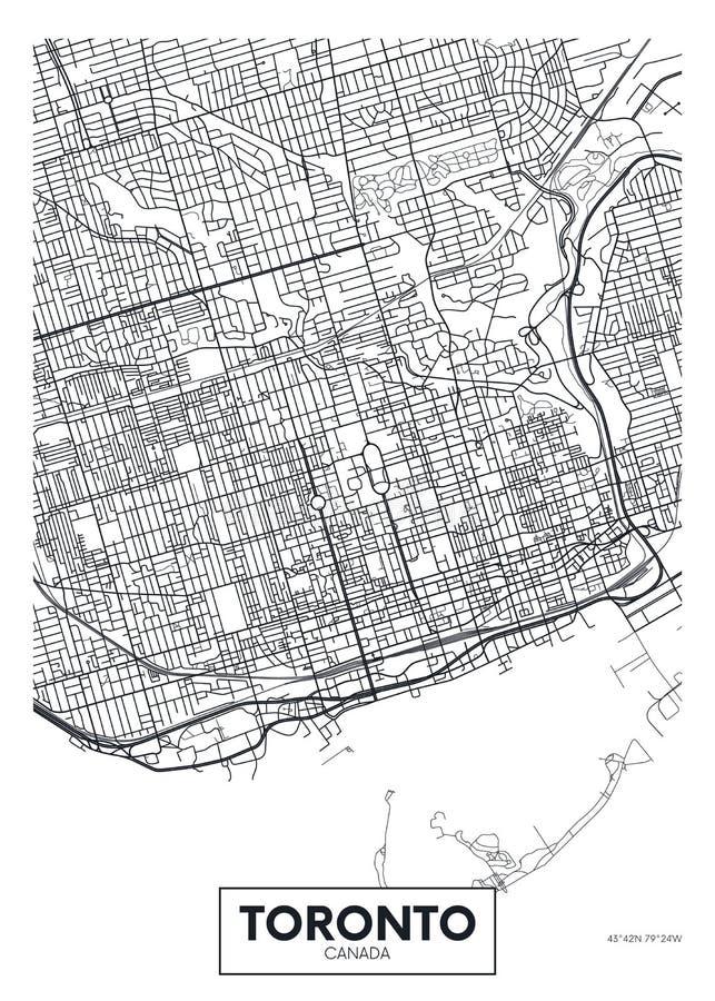De gedetailleerde vectorkaart Toronto van de affichestad vector illustratie