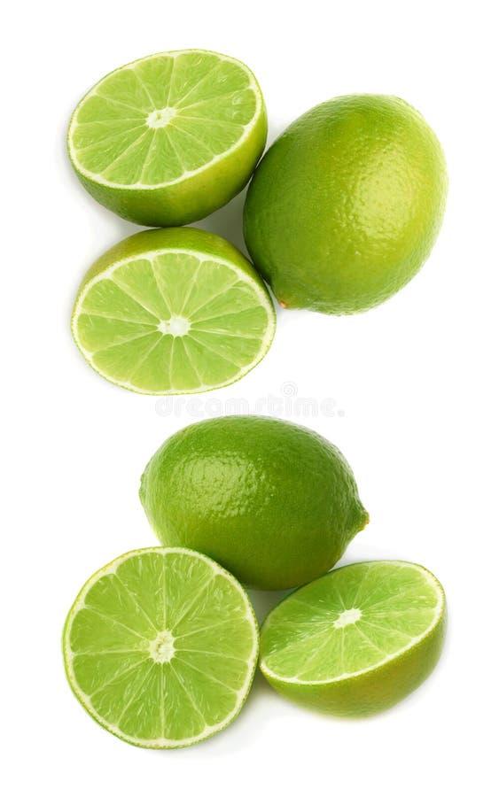 De gediende die samenstelling van het kalkfruit over de witte achtergrond, reeks wordt geïsoleerd verschillende foreshortenings royalty-vrije stock fotografie
