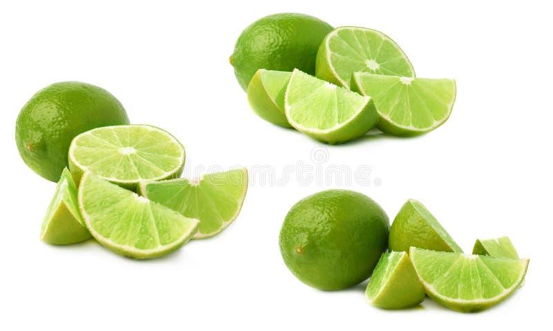 De gediende die samenstelling van het kalkfruit over de witte achtergrond, reeks wordt geïsoleerd verschillende foreshortenings royalty-vrije stock foto