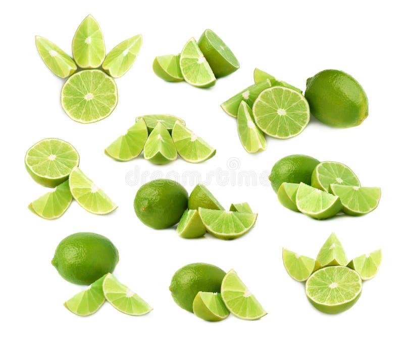 De gediende die samenstelling van het kalkfruit over de witte achtergrond, reeks wordt geïsoleerd verschillende foreshortenings stock foto's