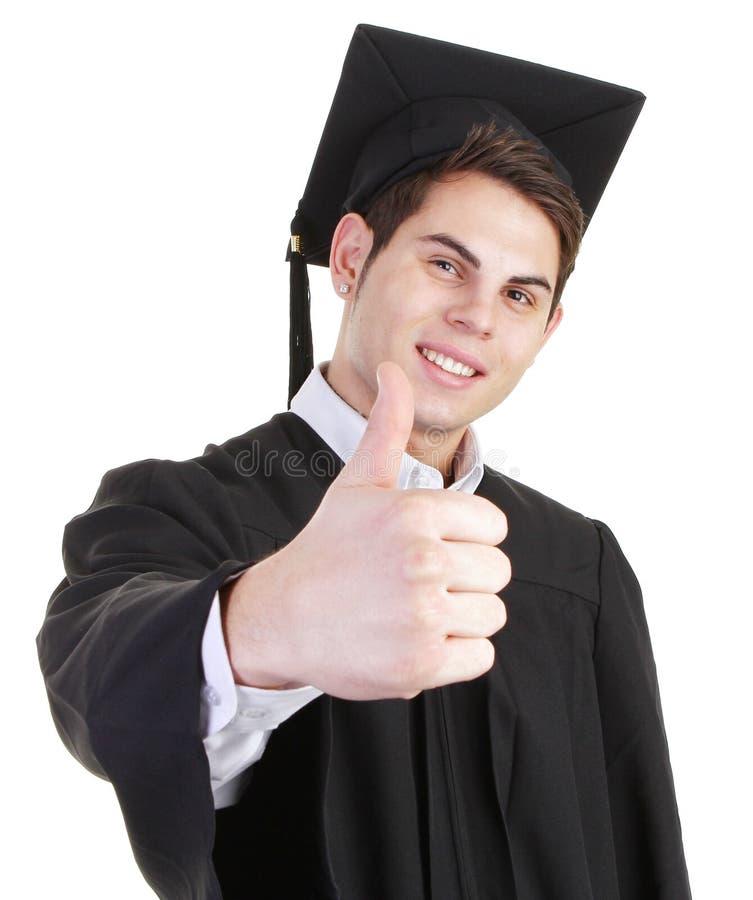 De gediplomeerde met duimen ondertekent omhoog stock afbeelding