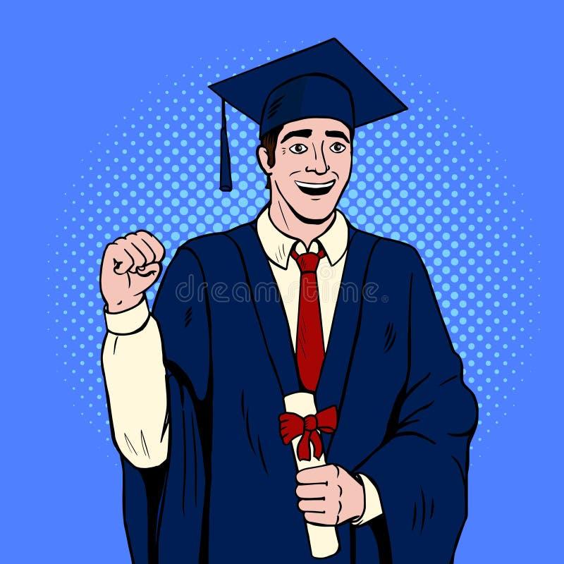De gediplomeerde vector van het kerelpop-art stock illustratie