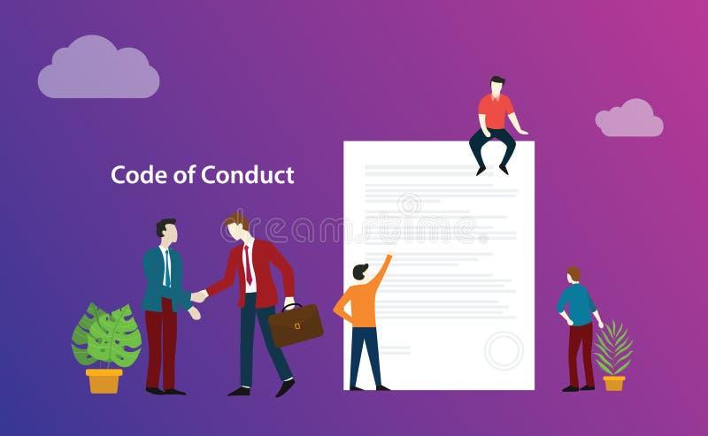 De gedragscode zaken behandelen mensen bespreken samen op document documentethiek - vector vector illustratie