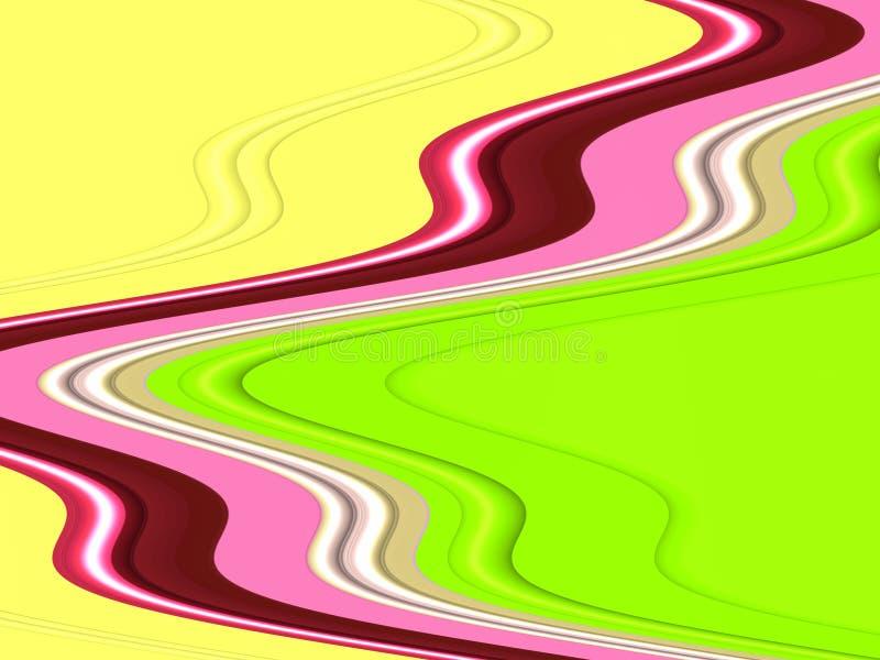 De geelgroene roze vloeibare meetkunde, vat levendige achtergrond, abstracte textuur samen stock illustratie