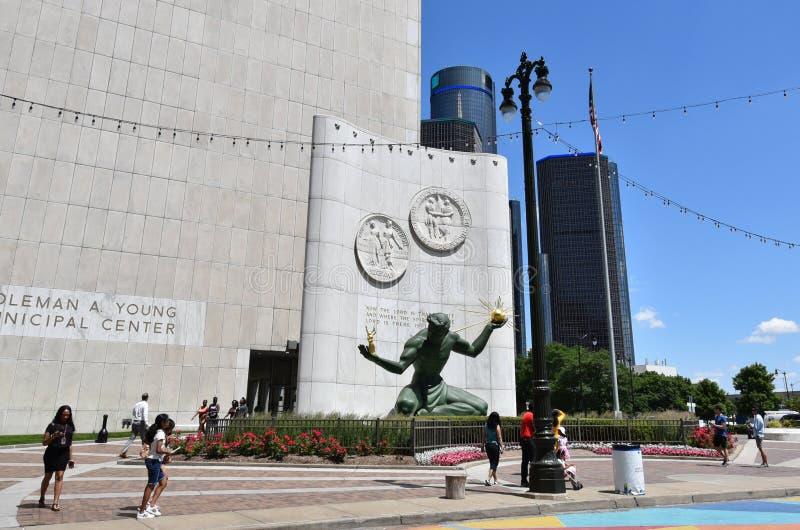 De Geest van Detroit van Detroit met Renaisance-Centrum royalty-vrije stock foto