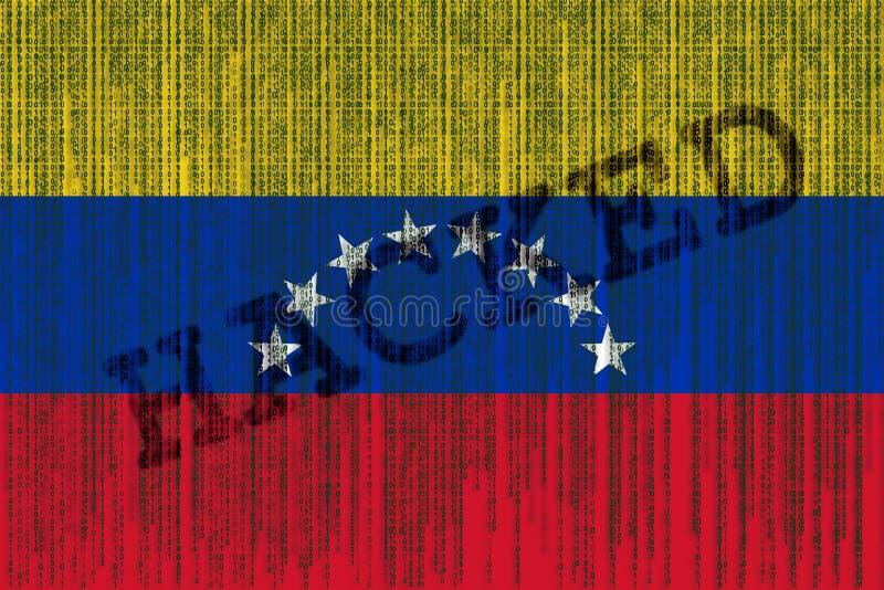 De gegevens Binnendrongen in een beveiligd computersysteem vlag van Venezuela De vlag van Venezuela met binaire code vector illustratie