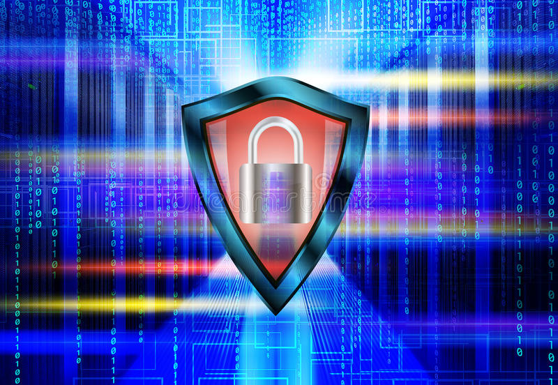 De gegevens centreren met rijen van het conceptenserver van de centrale verwerkingseenhedenveiligheid met hangslot, gegevensbesta vector illustratie