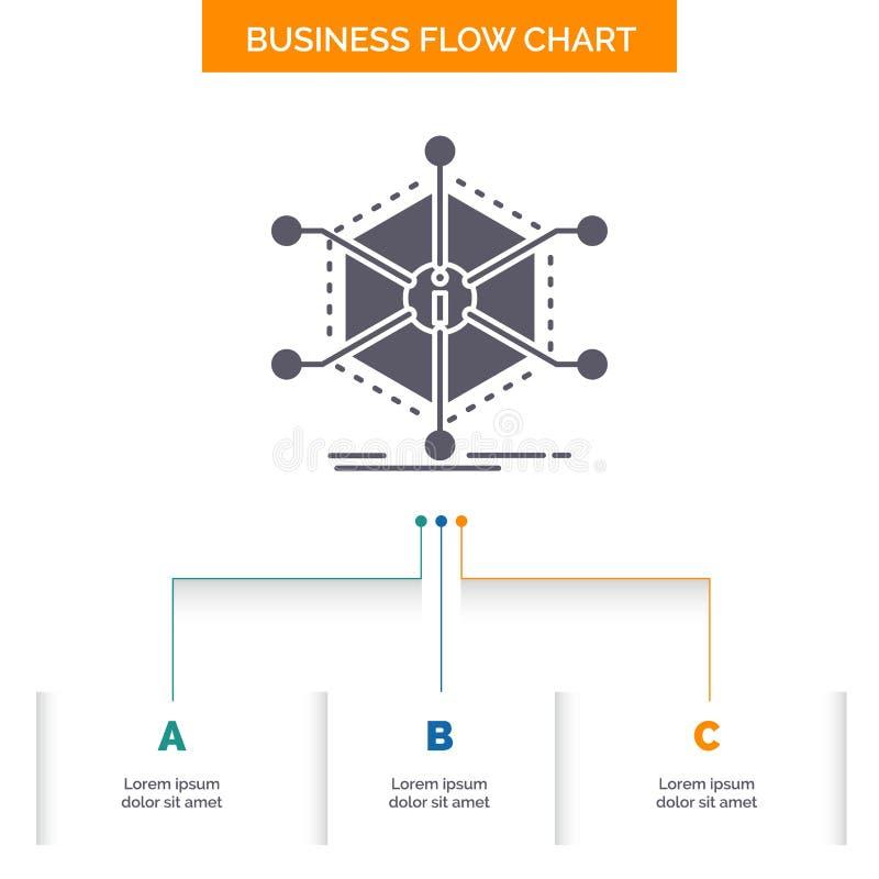De gegevens, hulp, informatie, informatie, van middelen voorzien het Ontwerp van de Bedrijfsstroomgrafiek met 3 Stappen Glyphpict vector illustratie