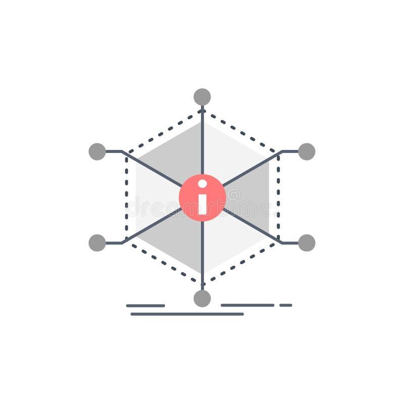De gegevens, hulp, informatie, informatie, van middelen voorzien de Vlakke Vector van het Kleurenpictogram stock illustratie