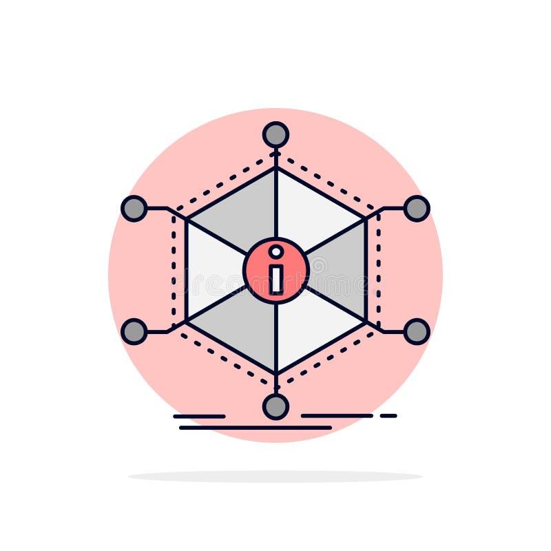 De gegevens, hulp, informatie, informatie, van middelen voorzien de Vlakke Vector van het Kleurenpictogram royalty-vrije illustratie