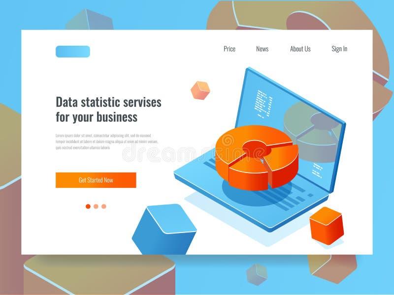 De gegevens rapporteren, bedrijfsanalytics en analyse, laptop met cirkeldiagram, programmering en automatisering zaken royalty-vrije illustratie