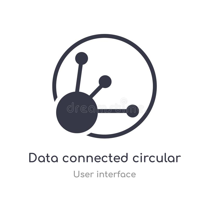 de gegevens verbonden het cirkelpictogram van het interfaceoverzicht ge?soleerde lijn vectorillustratie van gebruikersinterfacein vector illustratie