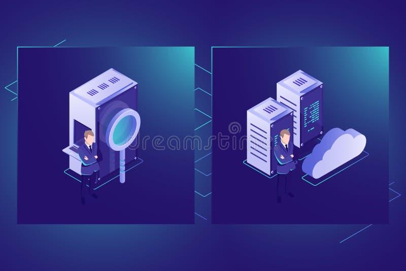De gegevens zoeken en betrekken de isometrische vector van het opslagpictogram, serverruimte, datacenter en gegevensbestand royalty-vrije illustratie