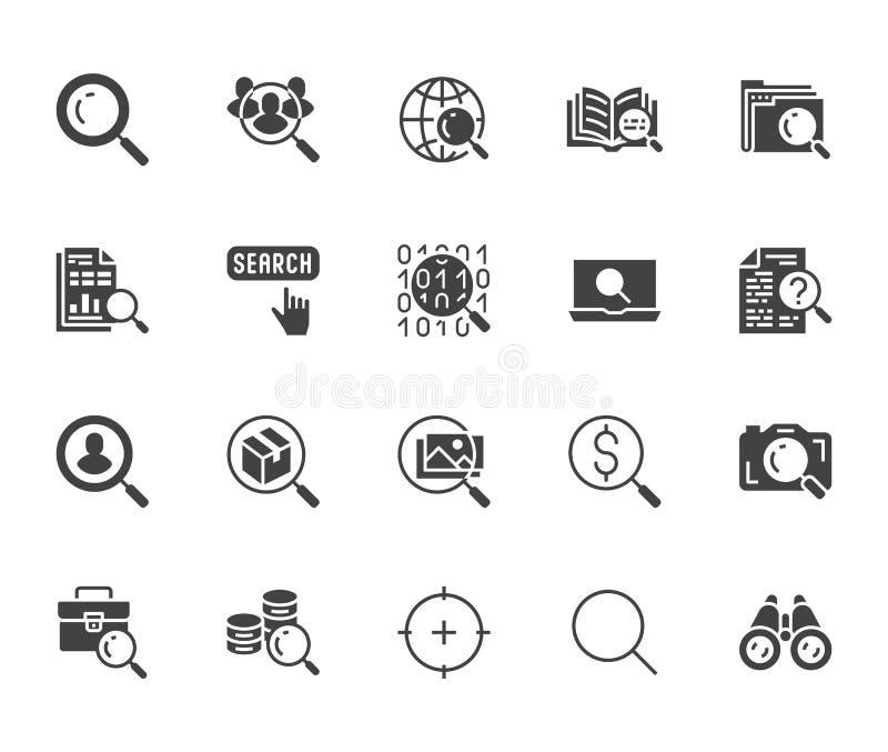 De gegevens zoeken vlakke geplaatste glyphpictogrammen Overdrijf glas, vind mensen, beeldgezoem, databaseexploratie, analysevecto stock illustratie