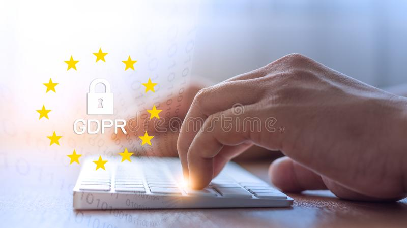 De gegevensbeschermingregelgeving van GDPR algemeen concept stock fotografie