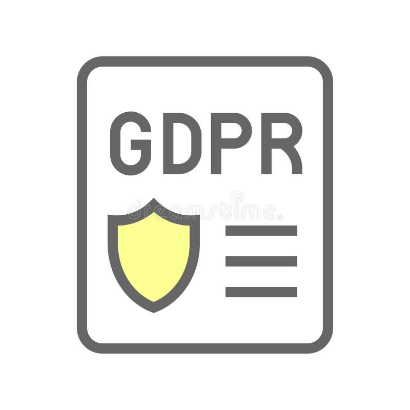 De Gegevensbeschermingverordening van GDPR Algemeen pictogram, gevulde stijl royalty-vrije illustratie